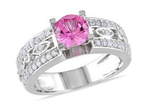 Sofia B 1 7/8 CT TW Created White Sapphire and Pink Sapphire Silver Engagement Ring