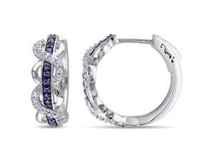 Sofia B 4/5 CT TW Sapphire White Sterling Silver Hoop Earrings