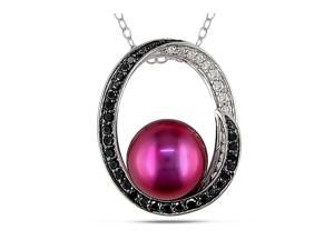 Michiko 9-9.5mm Freshwater Cultured Cranberry Pearl Sterling Silver Pendant Necklace with Diamond Accents
