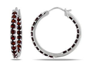 Sofia B 3 3/5 CT TW Garnet Hoop Earrings in Sterling Silver with Friction Back