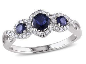Sofia B 1/2 CT TW Blue Sapphire 10K White Gold Ring with Diamond Accents