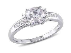 Sofia B 1 1/4 CT TW White Topaz 10K White Gold Ring with Diamond Accents