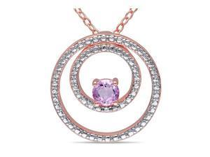 Sofia B 1/4 CT TW Rose de France Pink Silver Fashion Pendant Necklace