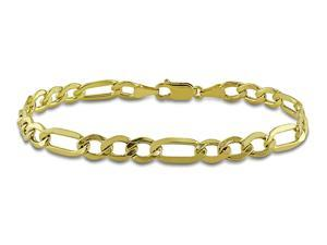 10K Gold 7mm Figaro Mens Bracelet with Lobster Clasp