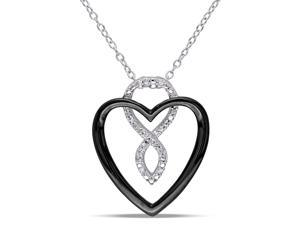 Diamond Sterling Silver Heart Pendant Necklace with Chain