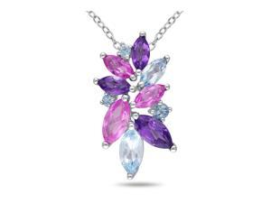 Sofia B 4 CT Created Pink Sapphire, African Amethyst and Blue Topaz Silver Necklace