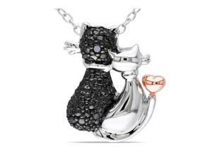 Julie Leah Cat Duo Two-Tone Sterling Silver Pendant Necklace with Diamond Accents
