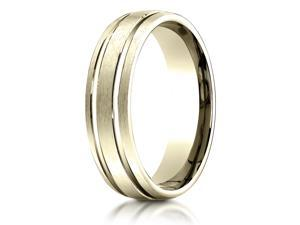 18K Yellow Gold 6mm Comfort-Fit Parallel Grooves Carved Design Band Ring
