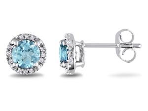Sofia B 1 CT TW Sky Blue Topaz 10K White Gold Stud Earrings with Diamond Accents