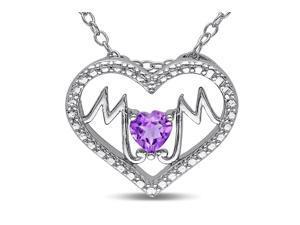 Sofia B 1/3 CT TW Amethyst Silver Fashion Pendant Necklace