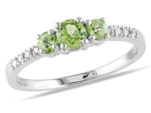 Sofia B 1/2 CT Peridot and Diamond 10K White Gold Ring