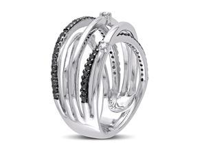 Julie Leah 1/3 CT TW Black and White Diamond Sterling Silver Ring