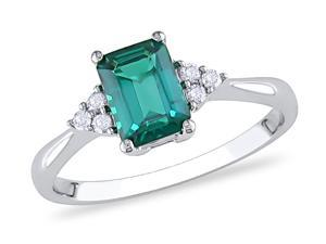 Sofia B 1 CT TW White Diamond and Created Emerald 10K White Gold Fashion Ring
