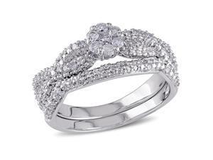 Julie Leah 1/3 CT TW Diamond Sterling Silver Bridal Set