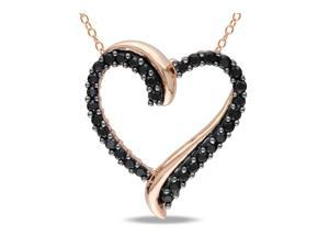 Sofia B 4/5 CT TW Black Spinel Heart Rose Silver and Black Rhodium Pendant Necklace