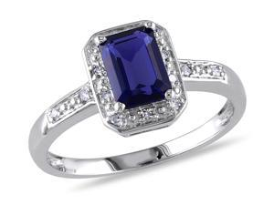 Sofia B 1 3/5 CT TW Lab-Created Blue Sapphire Sterling Silver Halo Ring with Diamond Accents