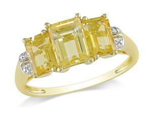 Sofia B 2 1/3 CT Citrine and Diamond 10K Yellow Gold Ring