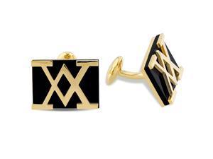 Versace 19.69 Abbigliamento Sportivo Black Onyx Cufflinks in Gold-Plated Silver