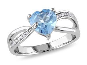 Sofia B 1 1/3 CT TW Heart-Shaped Sky Blue Topaz 10K White Gold Ring with Diamond Accents