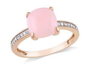 Sofia B 1 1/3 CT TW Pink Opal and Diamond 10K Rose Gold Fashion Ring