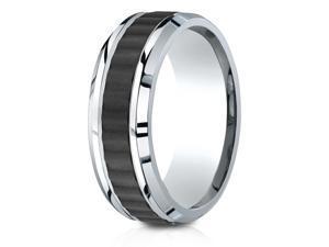Cobalt 8mm Comfort-Fit Beveled Edge Black Titanium Riveted Inlay Design Ring