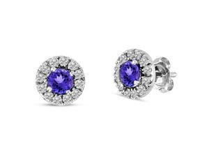 1/3 CT TW Blue Tanzanite and Diamond 14K White Gold Stud Earrings