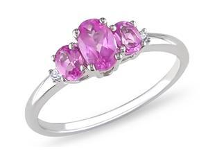 Sofia B 1 1/4 CT TW Created Pink Sapphire and Diamond 10K White Gold Ring