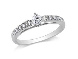 Julie Leah 1/4 CT TW Round-Cut Diamond 10K White Gold Solitaire Ring