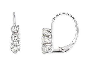 Julie Leah 1/2 CT 3-Stone Diamond Drop Earrings in 14K White Gold with Lever Back
