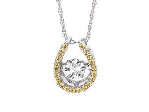 Brilliance in Motion 1/3 CT TW Yellow and White Diamond 14K Gold Horseshoe Necklace