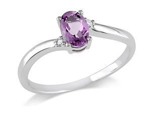 Sofia B 3/8 CT TW Amethyst 10K White Gold Ring with Diamond Accents