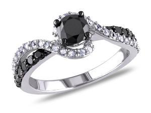 Sofia B 3/4 CT TW Black Diamond Sterling Silver Ring with Sapphire Accents