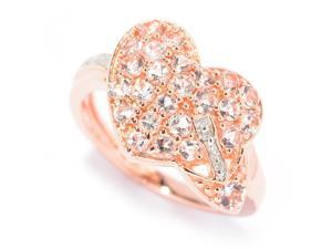 1 3/8 CT TW Morganite Rose Gold-Plated Sterling Silver Fashion Ring with Diamond Accents