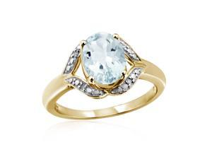 1 1/6 CT TW Aquamarine Gold-Plated Silver Ring with Diamond Accents by JewelonFire