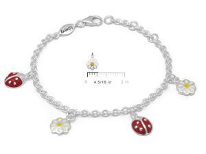 Children and Tween Girls Silver Ladybug and Daisy Flower Charm Bracelet