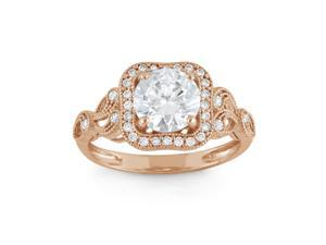 Tiara 2 1/3 CT Cubic Zirconia 10K Rose Gold Vintage Inspired Swirl Design Halo Ring