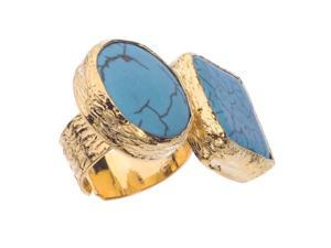 Turquoise 18K Yellow Gold-Plated Bronze Adjustable Floating Rock 2-Stone Ring