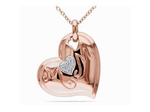 Julie Leah Diamond Rose Sterling Silver Heart Pendant Necklace with Chain