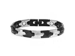 Tungsten Carbide Two Tone Plated Magnetic Therapy Bio Healing Mens Link Bracelet