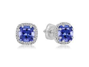 2 2/5 CT Tanzanite and Diamond 18K White Gold Multi-Prong Cushion Cut Stud Earrings