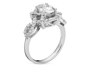 1 9/10 CT DEW Classic Moissanite Fashion Ring In Platinum Plated Sterling Silver
