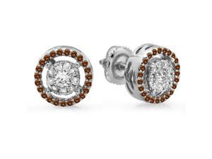 5/9 CT TW Champagne and White Diamond 18K White Gold Cluster Halo Stud Earrings