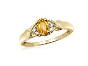 1/2 CT TW Citrine Yellow Sterling Silver Ring with Diamond Accents by JewelonFire