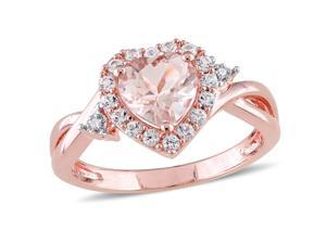 Sofia B 1 3/7 CT TW Heart-Shaped Morganite Rose-Plated Sterling Silver Ring with Diamond and Sapphire Accents