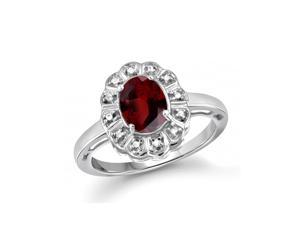 1 5/8 CT TW Garnet and Diamond Sterling Silver Flower Halo Ring by JewelonFire