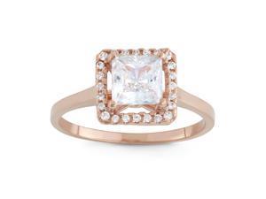 Tiara 1 1/3 CT Cubic Zirconia 10K Rose Gold Princess Cut Halo Promise Ring