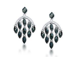 1 1/2 CT Blue and White Diamond Sterling Silver Marquise Chandelier Dangle Earrings