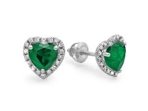 2 1/4 CT TW Green Emerald and Diamond 14K White Gold Heart Halo Stud Earrings