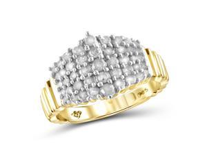1 CT Diamond Gold-Plated Sterling Silver Domed Textured Fashion Ring by JewelonFire