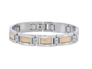 Link Bracelet with Diamond Accents in Stainless Steel for Men by Ax Jewelry